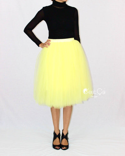 Colette Lemon Yellow Soft Tulle Skirt - Midi - C'est Ça New York