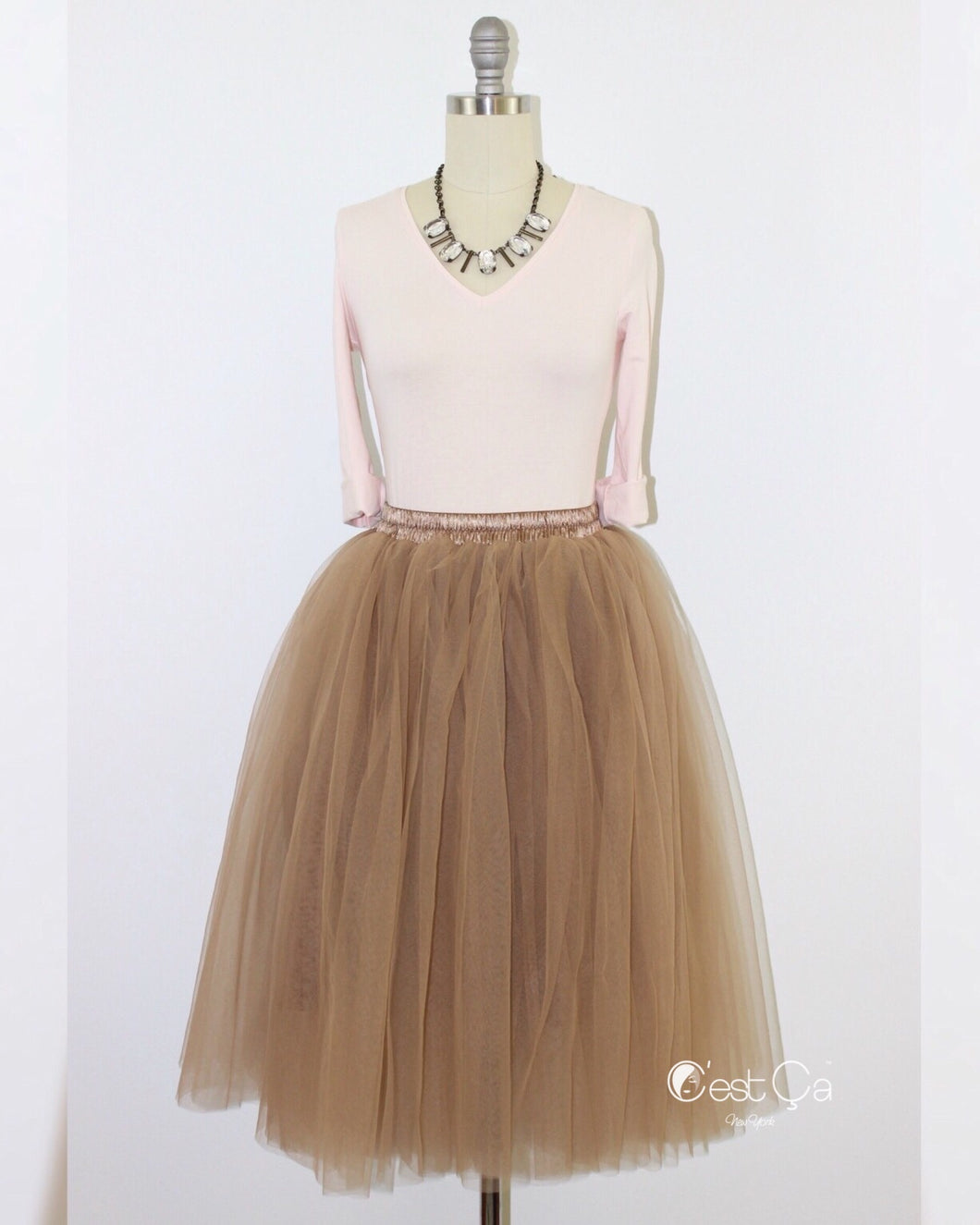 Colette Premium Light Coffee Soft Tulle Skirt - Midi - C'est Ça New York