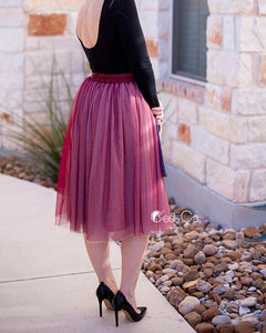 Corinne Ombre Burgundy Soft Tulle Skirt - Below Knee - C'est Ça New York