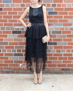 Crystal Black Polka Dot Tiered Tulle Skirt - Maxi / Tea Length - C'est Ça New York