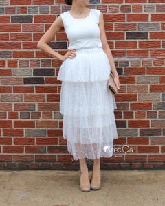 Crystal White Polka Dot Tiered Tulle Skirt - Maxi / Tea Length - C'est Ça New York