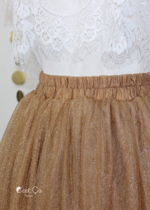 Diane Metallic Bronze Tulle Skirt - Below Knee Midi - C'est Ça New York