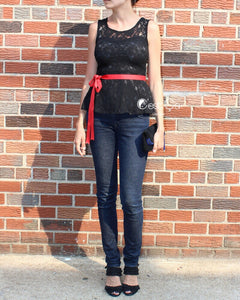 Lynn Black Lace Peplum Top - C'est Ça New York