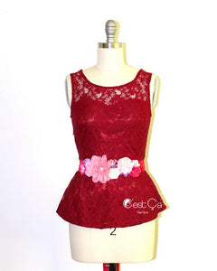 Lynn Wine Red Lace Peplum Top - C'est Ça New York