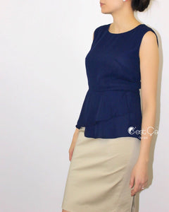 Natalie Navy Blue Peplum Top - C'est Ça New York