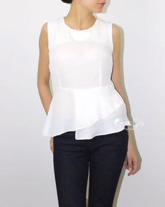 Natalie White Peplum Top - C'est Ça New York