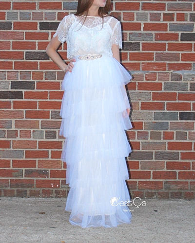 Odette Snow White Tiered Tulle Skirt - Maxi - C'est Ça New York