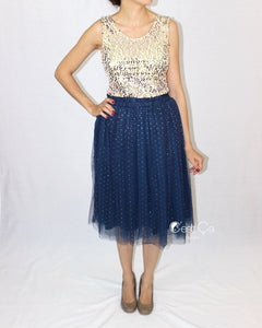 Selma Navy Polka Dot Tulle Skirt - Midi - C'est Ça New York