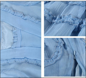 Veronica Baby Blue Victorian Ruffled Dress - C'est Ça New York
