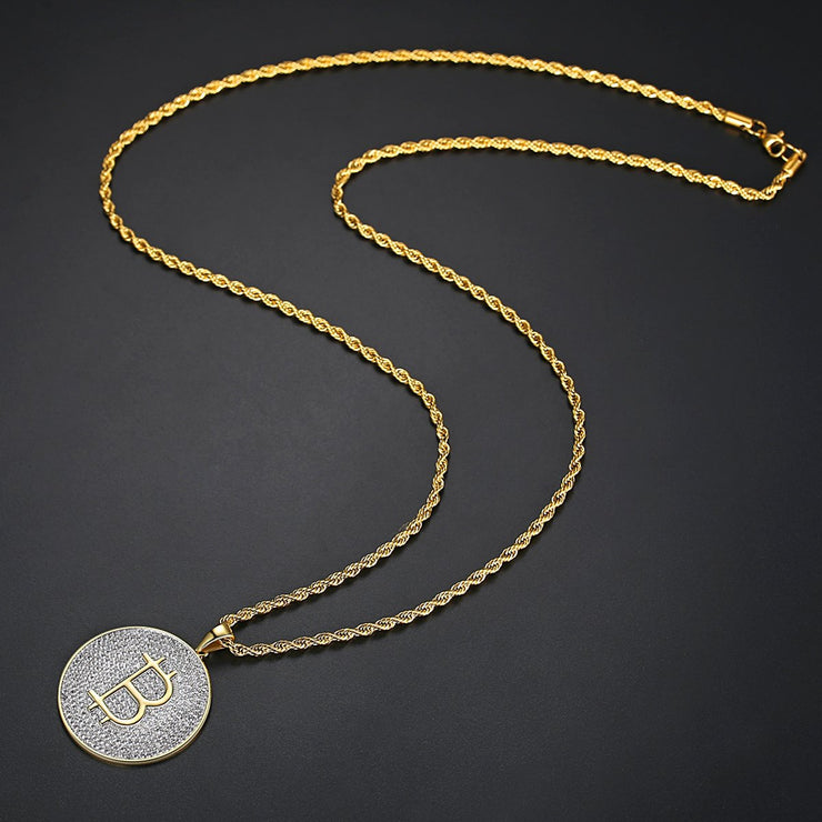 'B' 3.5ct Necklace - 18K Gold Finish