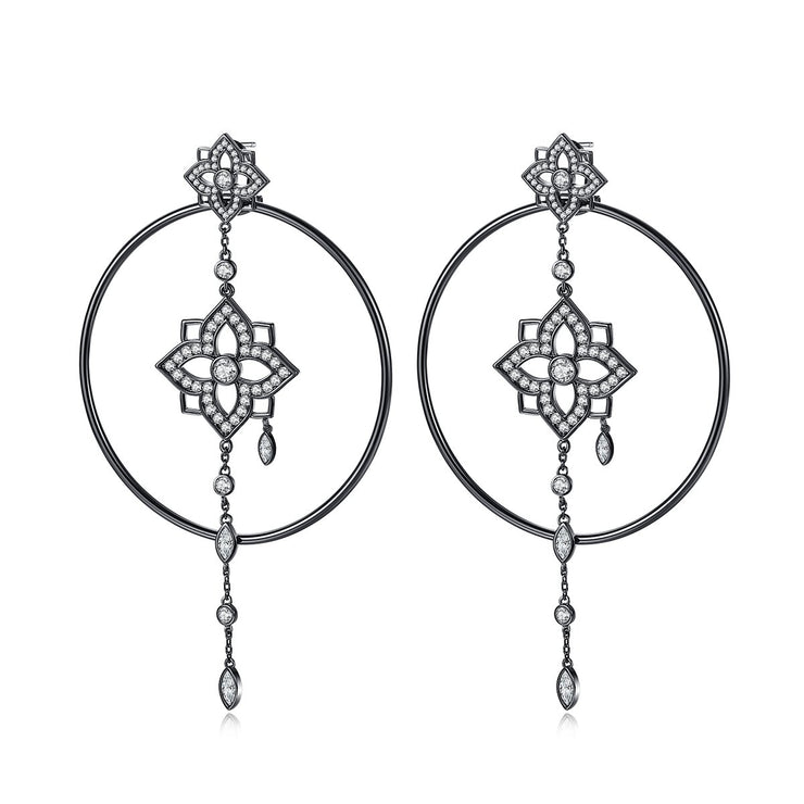 'Oleria' Earrings - 18K White/Black Gold Finish