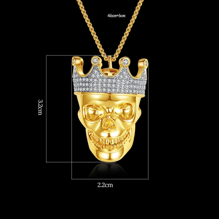 'ELMWOOD WAY' Skull 4ct Necklace - 18K Gold Finish
