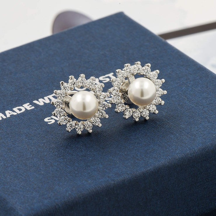 'Luna di Fantasia' - Earrings with Swarovski® White Pearls - 18K White Gold Finish & Silver