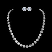'Brillare' Earrings and Necklace Jewelry Set - 18K White Gold Finish