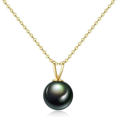 Gift for women gift for girl birthday present men girlfirend wife daughter18K Gold Chain Natural Tahiti Black Pearl Pendent Necklaces for Women