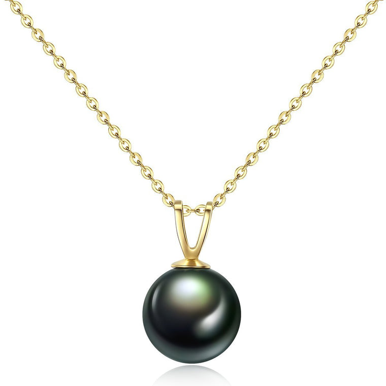 18K Gold Chain Natural Tahiti Black Pearl Pendent Necklace
