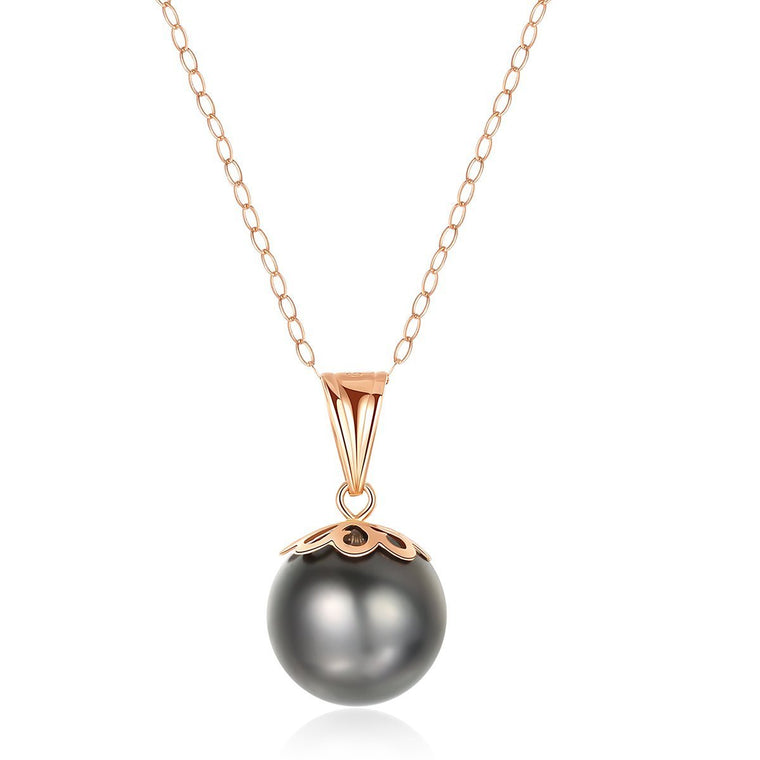 18K Gold Chain Natural Tahitian Black Pearl Pendent Necklace
