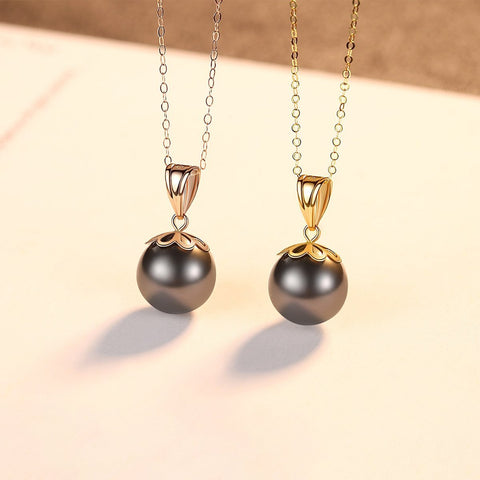 18K Gold Chain Natural Tahitian Black Pearl Pendent Necklaces for Women