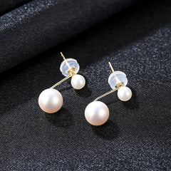 Gift for women gift for girl birthday present men girlfirend wife daughter18K gold freshwater pearl earrings for women fine jewellery