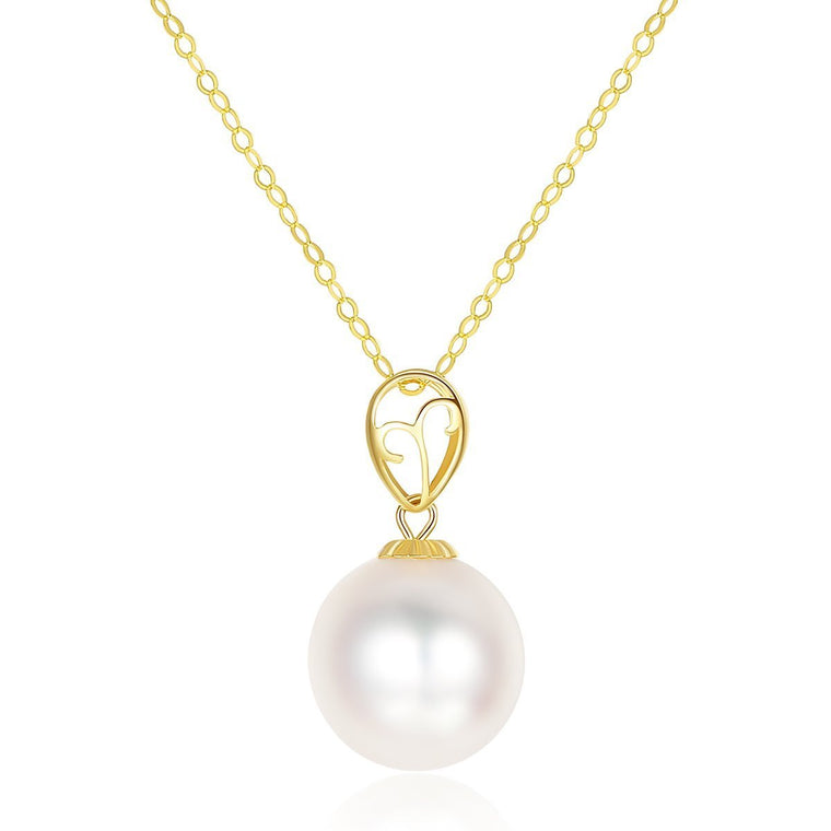18K Gold Natural Tahitian Black Pearl Pendent Necklaces for Women