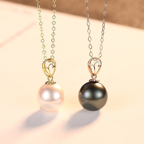 Gift for women gift for girl birthday present men girlfirend wife daughter18K Gold Natural Tahitian Black Pearl Pendent Necklaces for Women