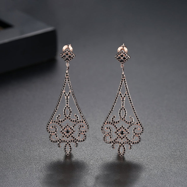 18K Gold Finish Chandelier Teardrop Earrings