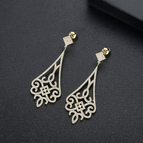 wholesale and dropshipping 18K Gold Plated Earing Chandelier Teardrop Earrings 2019 for Women Accessories
