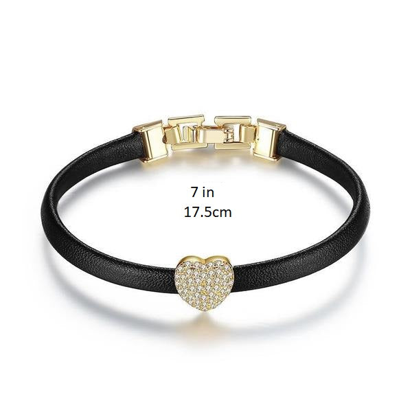 Cuore Heart Bracelet - Leather - Gold Color