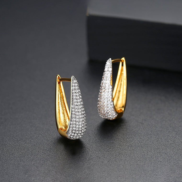 18K Gold Plated Hoops Huggie Earrings 2019 for Women Accessories Earing Fashion Jewelry