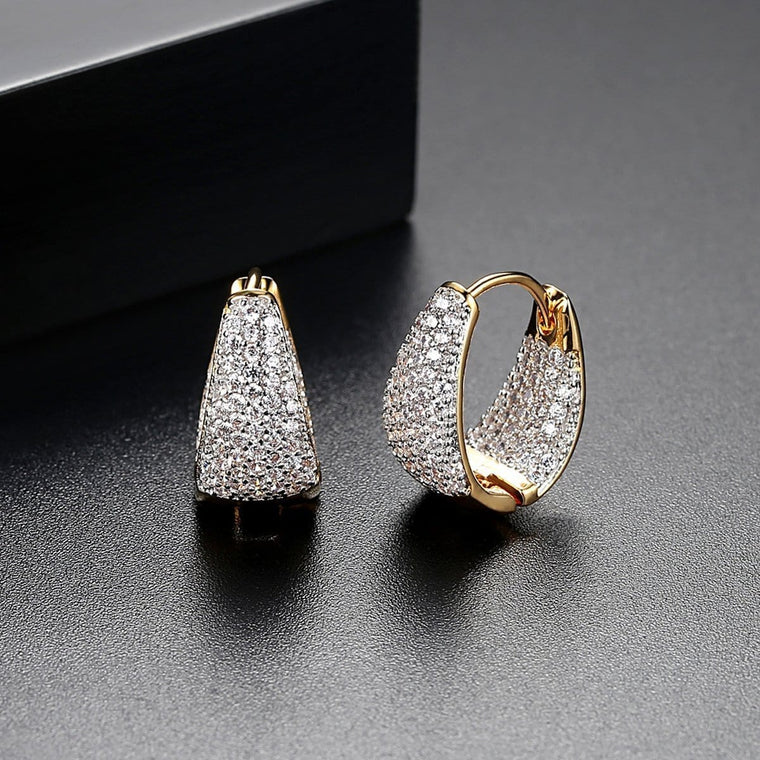 1.5ct 18K Gold Finish Hoops Huggie Earrings
