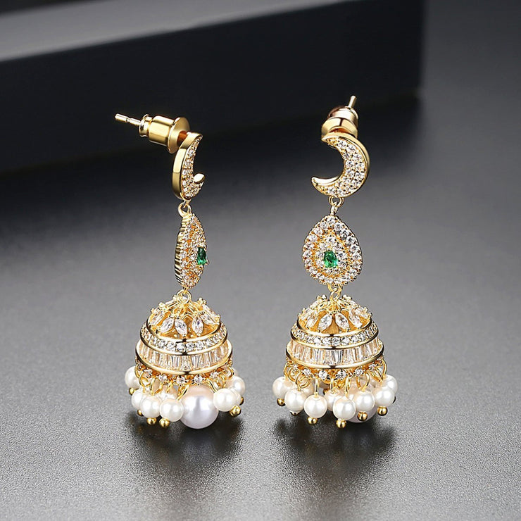 Gift for women gift for girl birthday present men girlfirend wife daughter18K Gold Plated Jhumkas Indian Jewelry Drop Dangle Ethnic Jhumka Earrings for Women