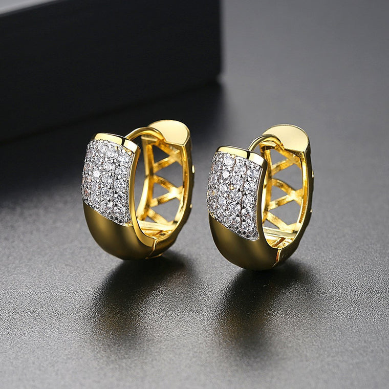 1/2ct 18K Gold Finish Small Hoops Cute Earrings