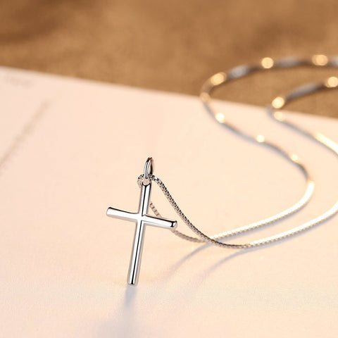 wholesale and dropshipping 925 Silver Chain Cross Pendant Necklace Jewelry for Women