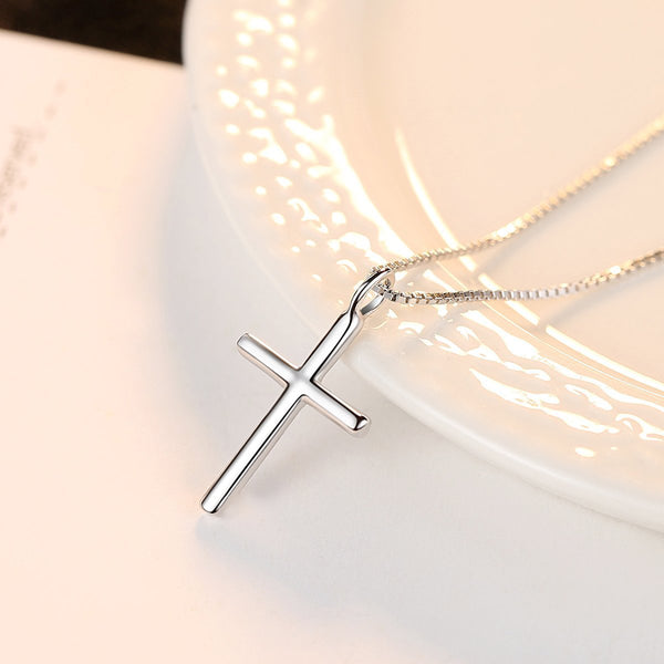 Gift for women gift for girl birthday present men girlfirend wife daughter925 Silver Chain Cross Pendant Necklace Jewelry for Women
