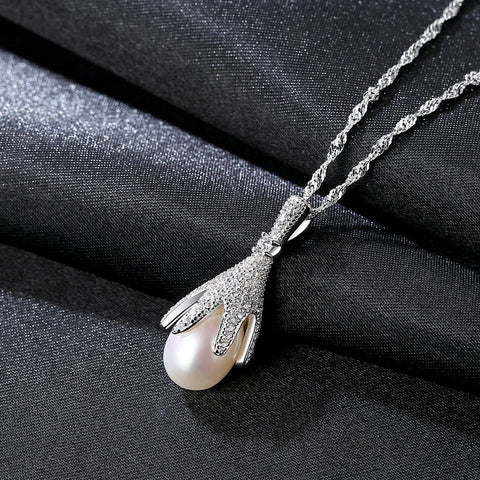 Gift for women gift for girl birthday present men girlfirend wife daughter925 Silver Chain Freshwater Pearl Necklace Women Jewelry Collares Pendants