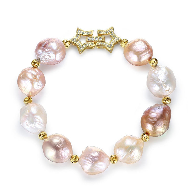 925 Silver & Gold Baroque Pearl Bracelet