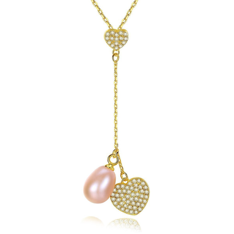 18K Gold Finish Heart Chain Necklace with Natural Pearl