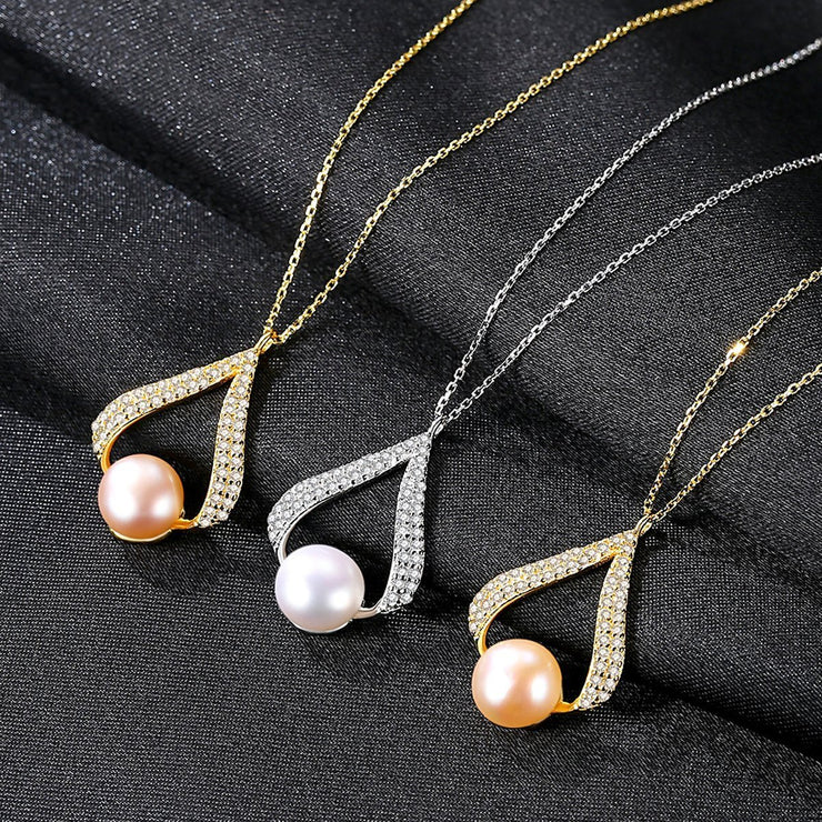 925 Sterling Silver Chain Necklace Natural Pearl Pendant