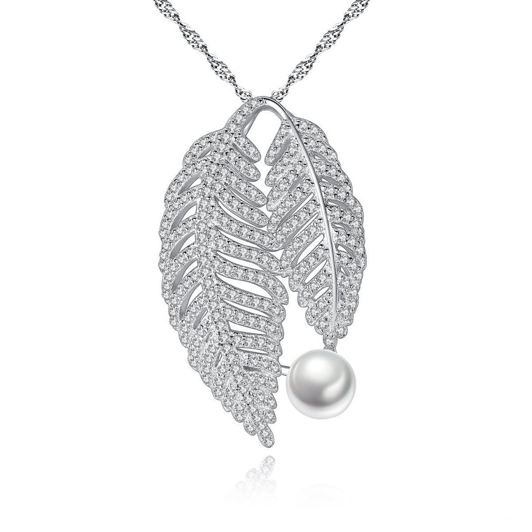 925 Sterling Silver Chains Necklace Natural Pearl Pendant