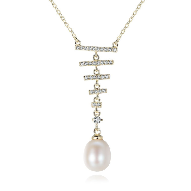 925 Sterling Silver Chains Necklace Women Freshwater Pearl Pendants