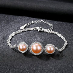 Gift for women gift for girl birthday present men girlfirend wife daughter925 Sterling Silver Freshwater Pearl Bracelet for Women