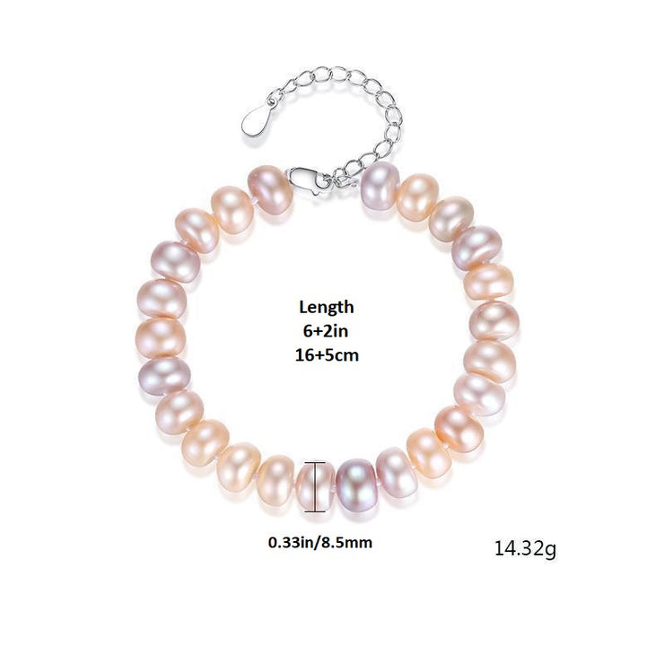 925 Sterling Silver Natural Pearl Bracelet