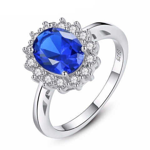 925 Sterling Silver Oval Sapphire Ring