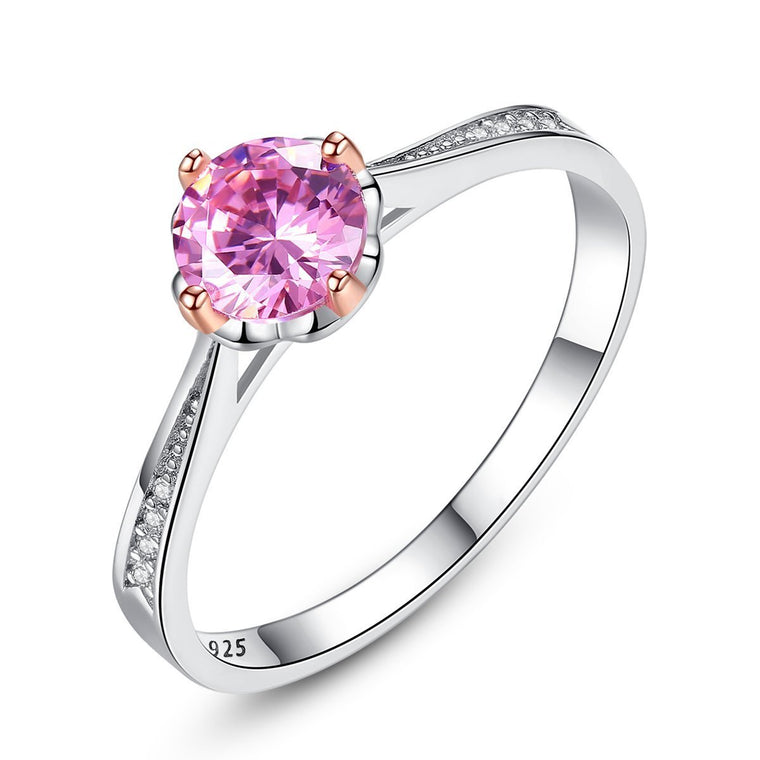 925 Sterling Silver Pink Ruby Ring