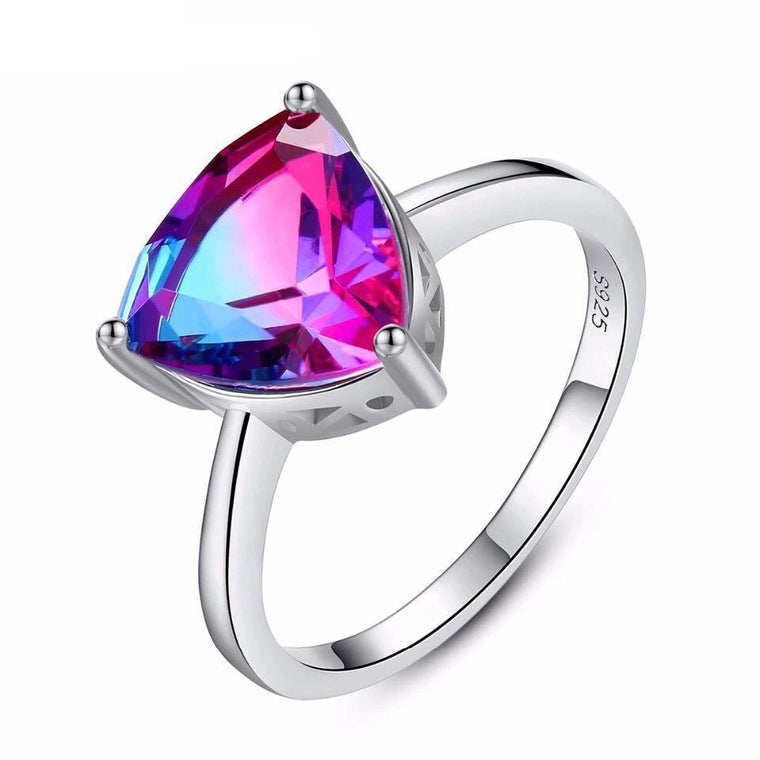 18K White Gold & Sterling Silver 3ct Mystic Topaz Ring