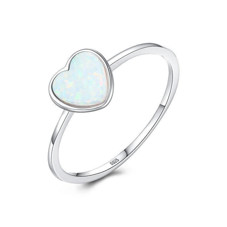 925 Sterling Silver Opal Ring Jewelry