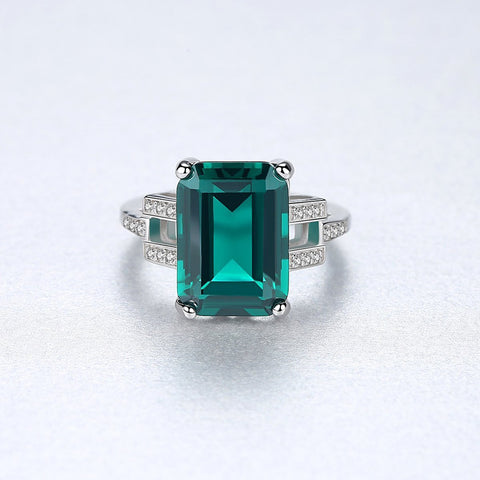 18K White Gold & Sterling Silver 7ct Sapphire/Emerald Blue/Green Ring
