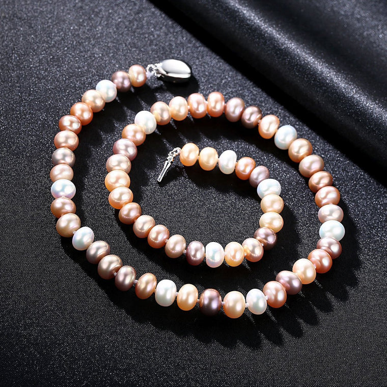 925 Sterling Silver Jewelry Natural Pearl Necklace