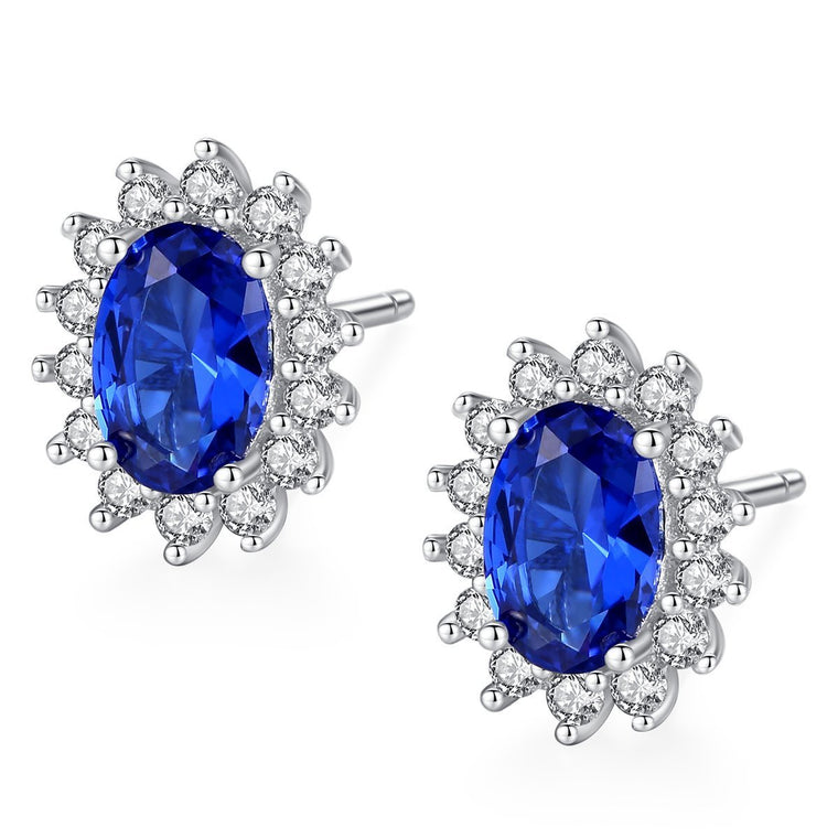 925 Sterling Silver Oval Halo Sapphire Stud Earrings for Women