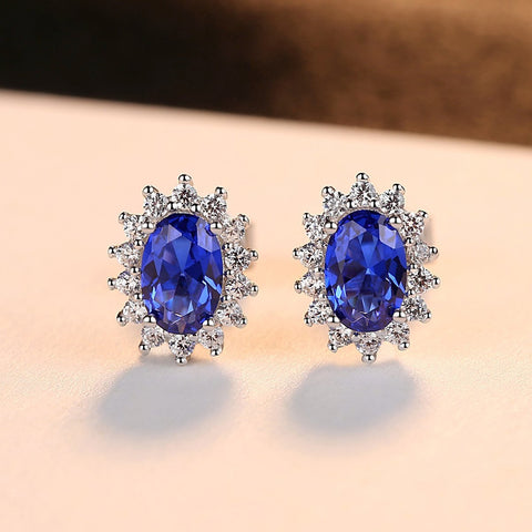925 Sterling Silver Oval Halo Sapphire Stud Earrings